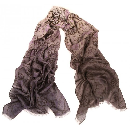 Flower Vine Shaded Print Lavender and Ivory Scarf
