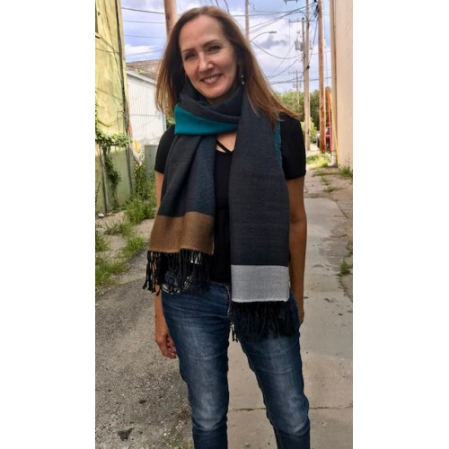 Colorbloc Scarf Teal Black