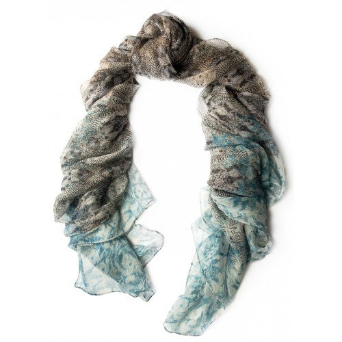Reptile Chiffon Turquoise & Charcoal Scarf