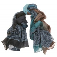 Lace Print Large Silk Chiffon Crepe Shaded Blue & Brown Scarf