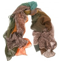 Lace Print Large Silk Chiffon Crepe Shaded Lime, Orange & Teal Scarf
