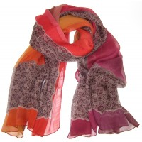 Lace Print Large Silk Chiffon Crepe Shaded Red & Orange Scarf