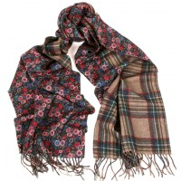 Double Sided Flower-Plaid Wool-Cashmere  Print Brown, Blue & Taupe Scarf