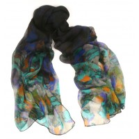 Millefleurs Crepe Silk Midnight Blue Multi Color Shaded Scarf