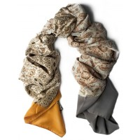 Mini Herald Silk Colorbloc Panels Cinnamon and Taupe Scarf