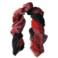 Multicolored Shaded Print Red, Pink and Aubergine Scarf