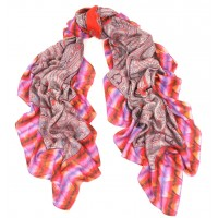 Tie-Dyed Border Paisley Print Orange &  Blue Scarf