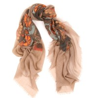 Evans Medallion Camel and Orange Scarf