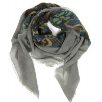 Evans Medallion Grey, Royal & Aqua Scarf