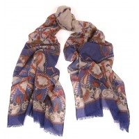 Trellis Print Blue and Orange Scarf