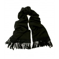 Macrame Fringed Solid Black Stole