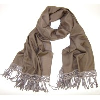 Macrame Fringed Solid Tobacco Brown Stole