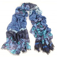 Flower Tapestry Colorbloc Ink/Turquoise scarf