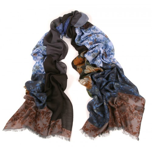 Panel Bias Print Ice Blue Ink Scarf