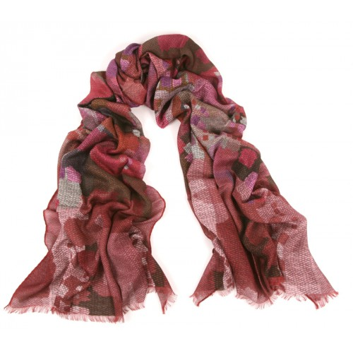 Abstract Pointilist Deep Rose Scarf
