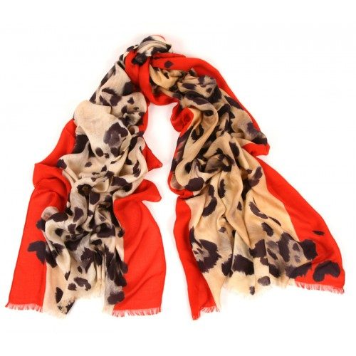 Leopard Scarf Contrasted Red Border