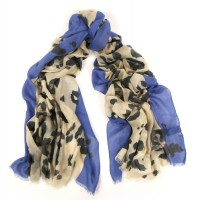 Leopard Scarf Contrasted Border Blue