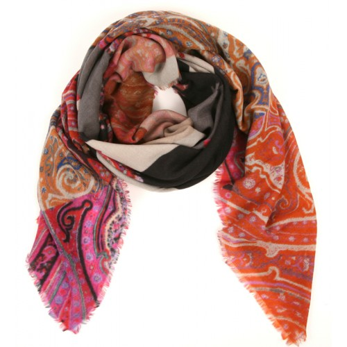 Paisley Geo Patchwork Citrine, Rose and Black Scarf