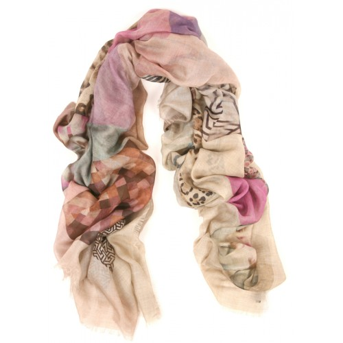 Floating Geo Fuscia Black Violet Large Scarf