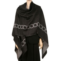 CATENA Chain Link Ruana Cape- Charcoal
