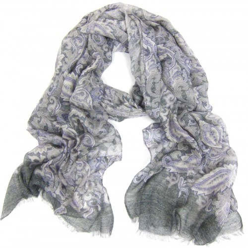 Paisley Print with Border Charcoal & Lavender Scarf