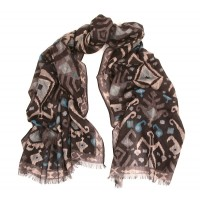 Kilim Print Challis Black, Charcoal and Turquoise Blue Print Scarf