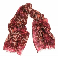 Kilim Print Challis Wine and Rose Printed Scarf