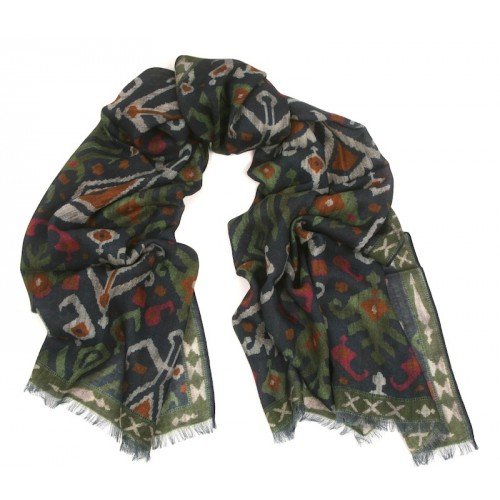 Kilim Print Challis Blue and Green Print Scarf