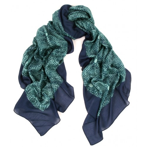 Shibori Pattern Aquamarine and Ink  Scarf