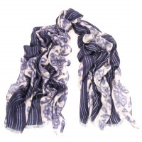 Watercolor Flower Sapphire Blue Stripe Border Scarf