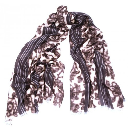 Watercolor Flower Black and Smoke Grey Stripe Border Scarf