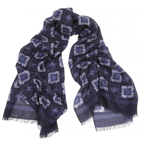 Tile Print Sapphire Blue and White Challis Scarf