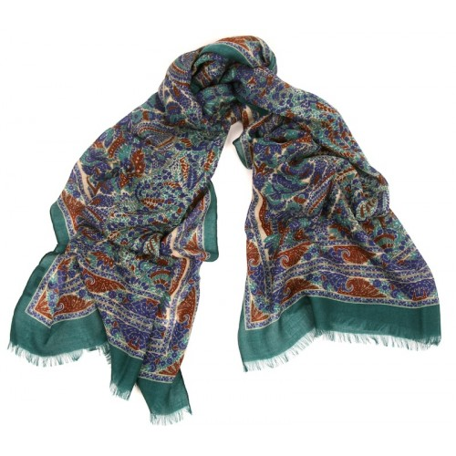 Triple Border Print Emerald Green Sapphire Blue and Cocoa Scarf
