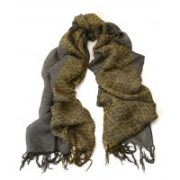 Colorbloc Italian Jacquard Ochre Yellow and Drab Olive Green Scarf