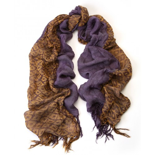 Colorbloc Italian Jacquard Ochre Yellow and Lavender Scarf