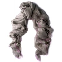 Twig Border- Contrasted Fringe Charcoal & Fuscia Scarf