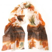 Washed Flower Print Brown & Ivory Scarf