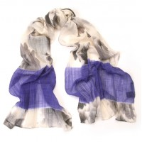 Washed Flower Print Iris Blue & Ivory Scarf