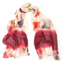 Washed Flower Print Deep Rose & Ivory Scarf