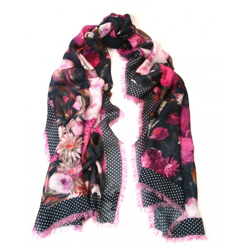 Floral Print with Mini-Polka Border Print Navy and Fuscia scarf