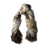 Feather Print Cocoa Brown Scarf