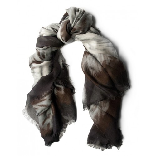 Feather Print Black Scarf