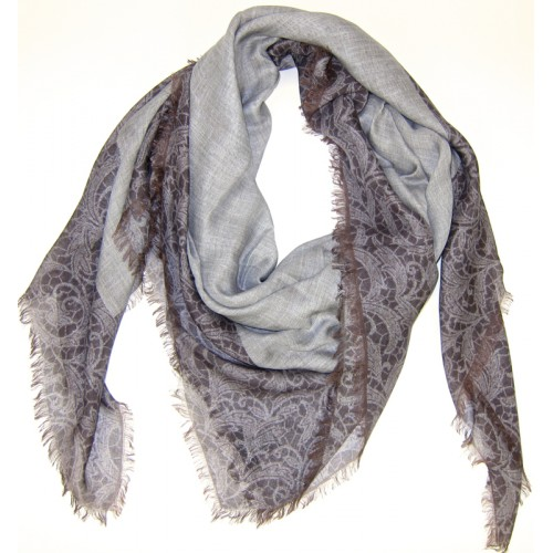 Lace Border Print Brown Scarf