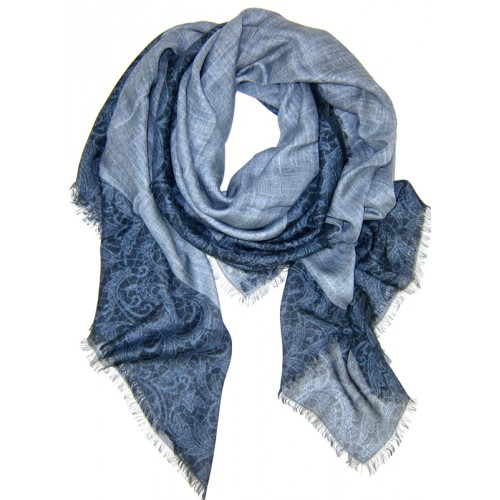 Lace Border Print Blue Scarf
