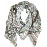 Big Paisley Print Charcoal Grey Scarf