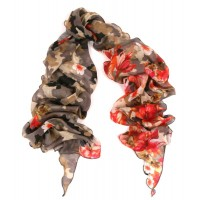 Camoflauge and Flower Bias Cut Print Red Scarf