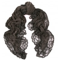 Lace Trimmed & Hand Dyed Charcoal Grey Scarf