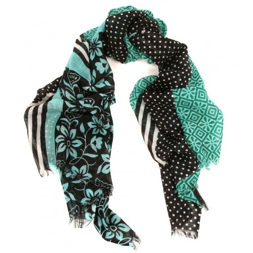 Geo and Floral Paneled Print Emerald Green, Black and Turquoise Scarf