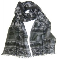 Flower with Block Print Border Charcoal Grey and Bottle Green Scarf