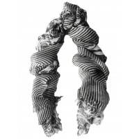 Chevron - Paisley Wool Challis Panel Black & White Scarf